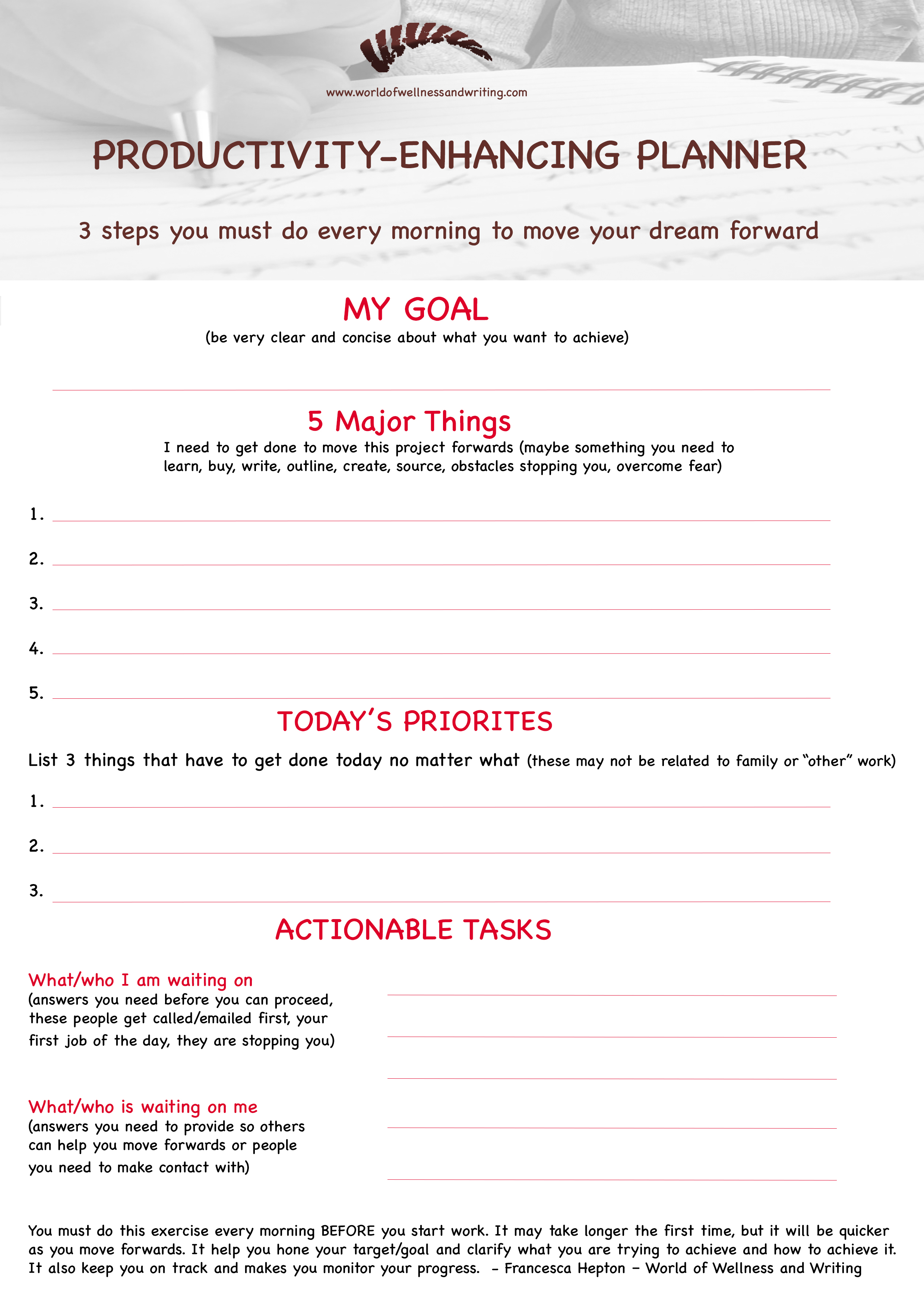 FREE Daily Planner to Drive Your Productivity