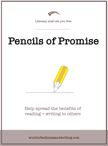 Each time you read a book, set aside a little bit of money and then donate the total sum at the end of the year to Pencils of Promise. We acknowledge how lucky we are to be able to read stories...